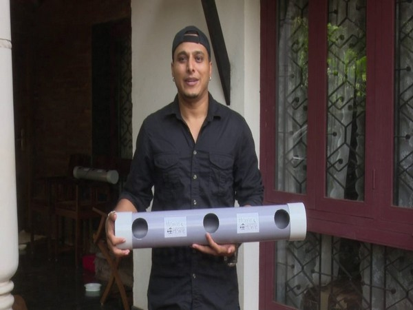 Animal activist Tauseef Ahmed with the artificial nesting unit. Photo/ANI