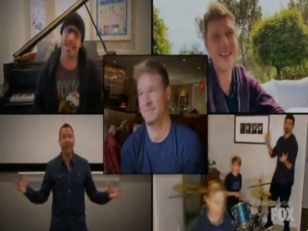 A still from the performance via video chat by the Backstreet Boys (Image courtesy: Twitter)