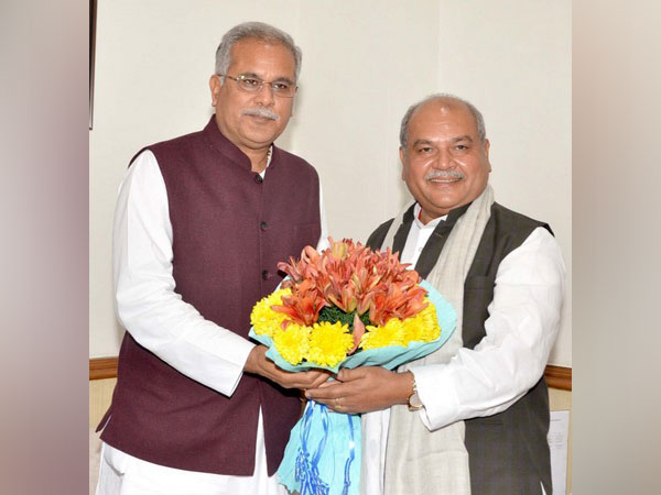 Chhattisgarh Chief Minister Bhupesh Baghel and Union Agricultural Minister Narendra Singh Tomar in New Delhi on Thursday