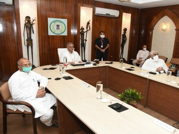A visual of Chhattisgarh Chief Minister Bhupesh Baghel attending the video conference meeting with Prime Minister Narendra Modi over COVID-19 situation on Monday.       Photo/ANI