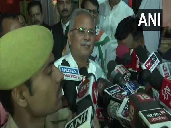 Chief Minister Bhupesh Baghel speaking to reporters in Raipur on Tuesday.