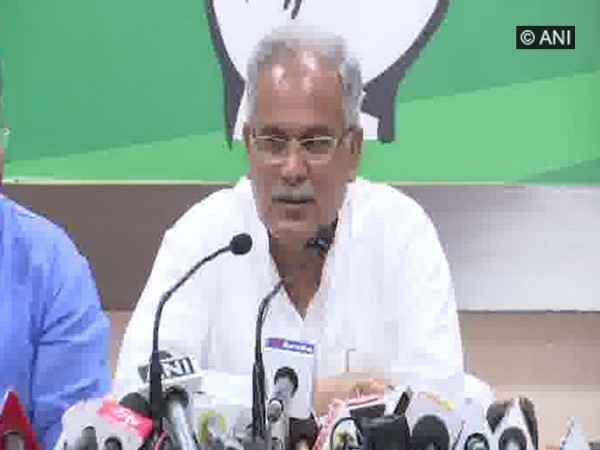 CM Bhupesh Baghel speaking at the press conference in Raipur on Friday.