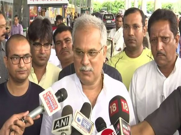 Chhattisgarh Chief Minister Bhupesh Baghel on airport addressed the meda on Wednesday before boarding a flight to Delhi. Photo/ANI