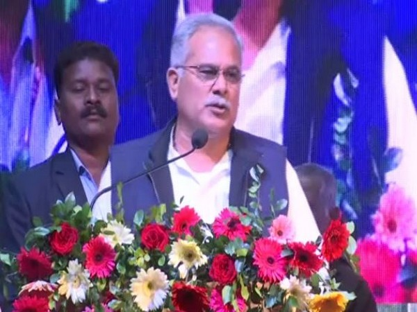 Chhattisgarh Chief Minister Bhupesh Baghel speaking at an event in Raipur on Friday (photo/ANI)