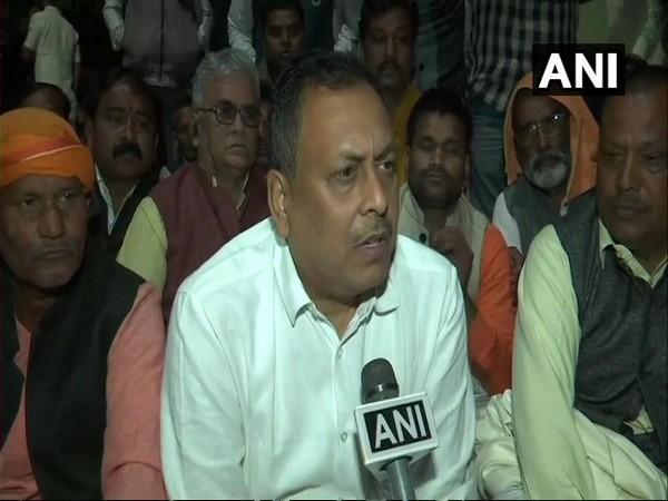 BJP MLA  Rakesh Singh Baghel on dharna at DM's office in Sant Kabir Nagar on Wednesday
