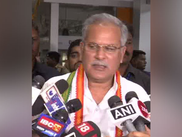 Chhattisgarh CM Bhupesh Baghel talking to media person in Raipur on Sunday