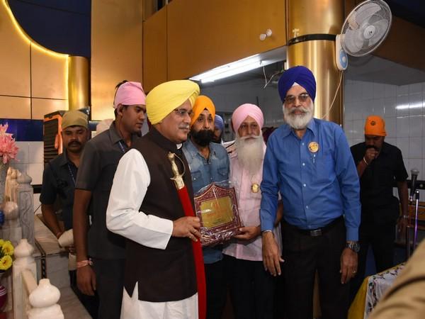 Chhattisgarh CM Bhupesh Baghel at Gurdwara in Raipur on Tuesday