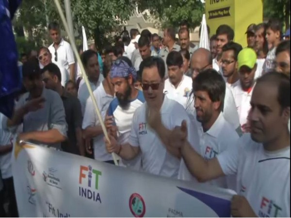 Wrestler Bajrang Punia particpated in 'Fit India Plog Run in New Delhi on Wednesday [Photo/ANI]