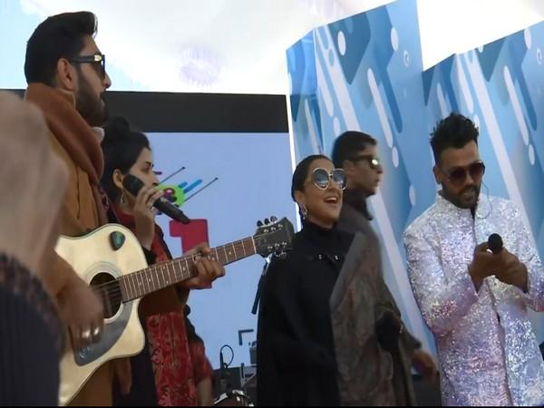 Bollywood actor Vidya Balan enjoying the Gulmarg winter festival. (Photo/ ANI)