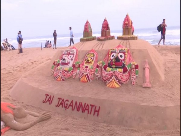 Three chariots of Lord Jagannath, Balabhadra and Subhadra at Puri beach.
