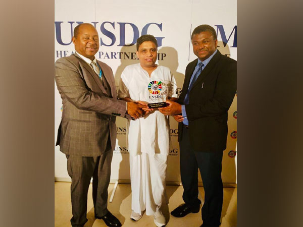 Acharya Balkrishna received 'UNSDG 10 Most Influential People in Healthcare Award' on behalf of Patanjali Group of Institution in Geneva yesterday.