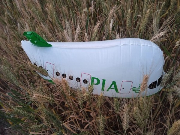 The aircraft shaped balloon recovered by police.