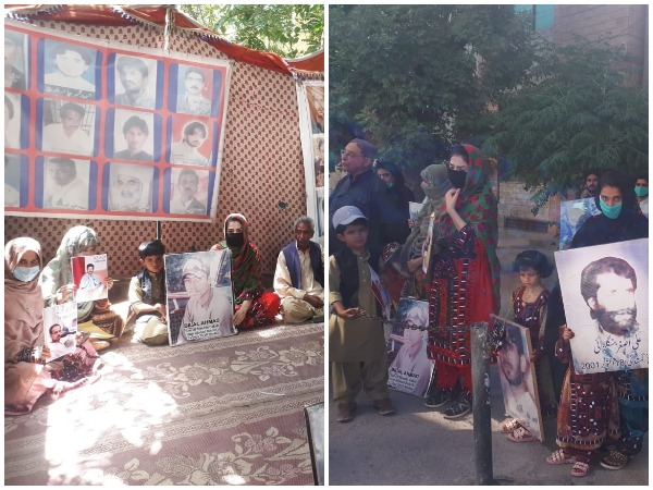 Baloch people, activists protests against enforced disappearances, illegal detention of loved ones