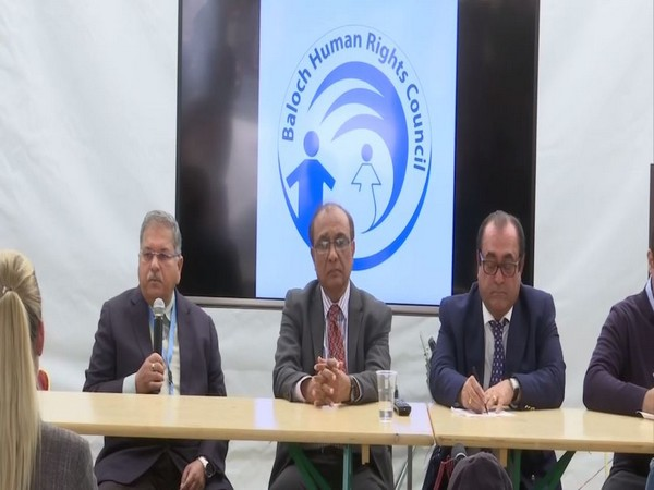 Members of Baloch Human Rights Council speaking at an event in Geneva on Wednesday. Photo/ANI
