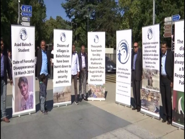 Baloch and Sindhi activists on Friday gathered at Broken Chair in front of the UN office