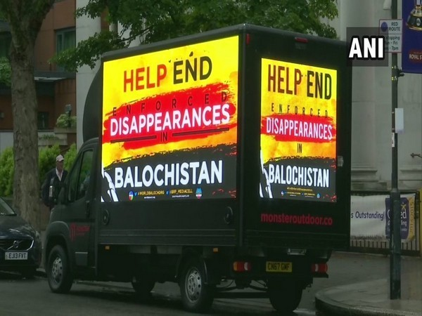 A mini-truck with a digital poster displaying an anti-Pakistan slogan was spotted outside the Lords Cricket Stadium on Sunday