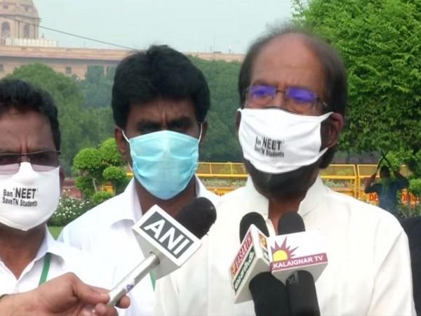 Dravida Munnetra Kazhagam MP Tiruchi Siva, while speaking to the media on Monday. (Photo/ANI)