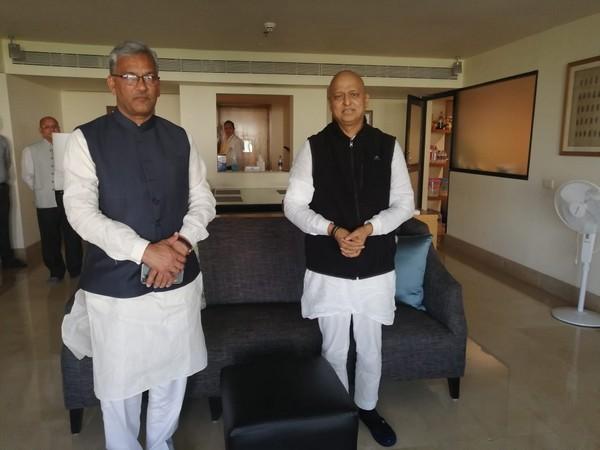 Uttarakhand Chief Minister Trivendra Singh Rawat with Rajya Sabha MP Anil Baluni.