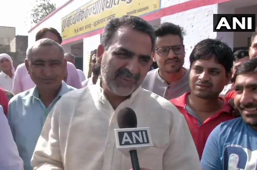 Muzaffarnagar BJP candidate Sanjeev Balyan talking to ANI on Thursday.