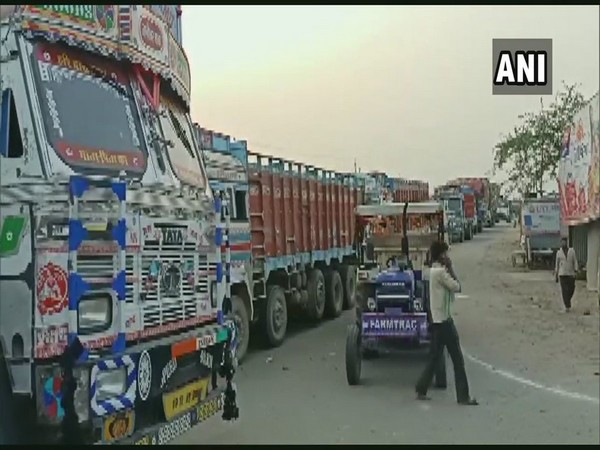 Visuals from the traffic jam in Banda. Photo/ANI