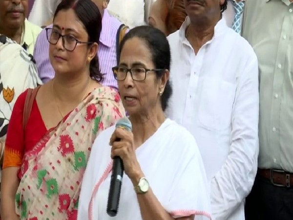 West Bengal CM Mamata Banerjee talking to reporters in Kolkata on Tuesday. Photo/ANI