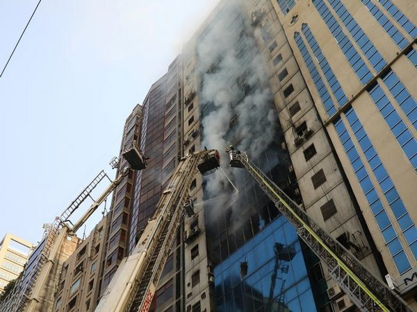 The emblazed high rise building in Dhaka's Banani area on Thursday.