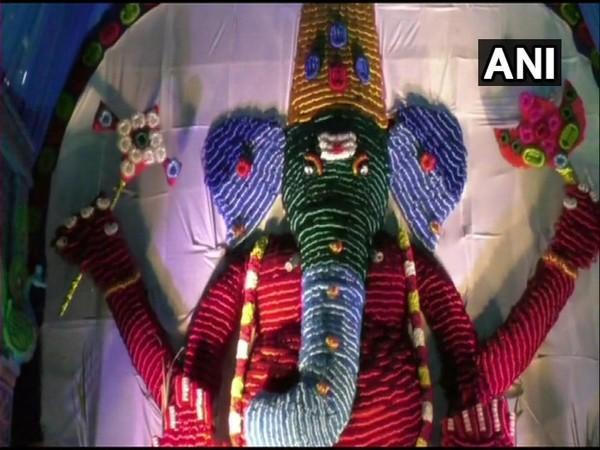 30-feet-tall Lord Ganesha made up of 2 lakh bangles at Thummalagunta village in Chittoor, AP