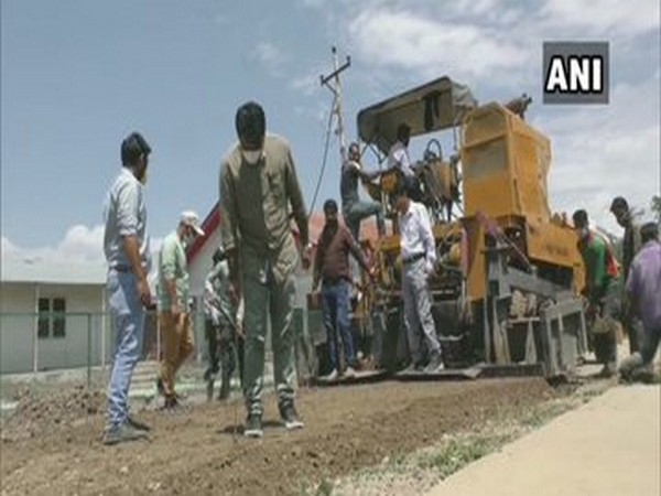 Visual of road construction in Baramulla, Jammu and Kashmir.
