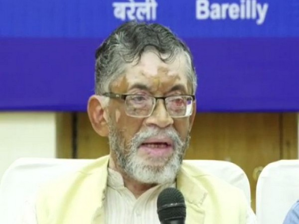 Union Minister Santosh Gangwar addressing press conference at Bareilly on Saturday