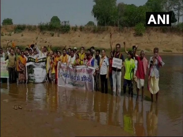 Bastar residents are holding foot-march to save river Indravati. Photo/ANI