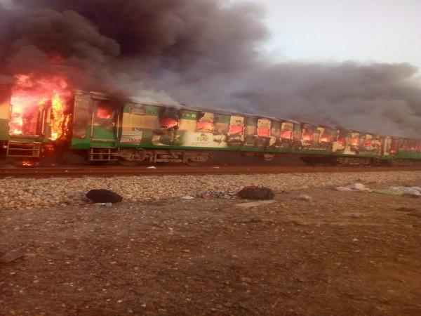 Death toll rises to 62, in incident where fire broke out in Karachi-Rawalpindi Tezgam express train in Liaqatpur near Rahim Yar Khan, earlier today.
