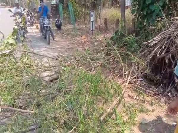 The youths of a village in Khammam district have set up a barrier restricting entry in the wake of COVID-19 pandemic. Photo/ANI