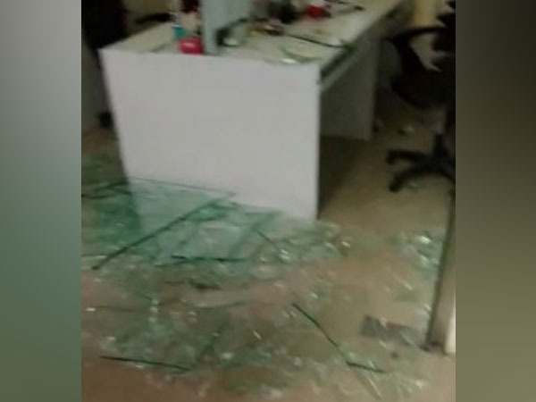 Visuals from the vandalised office of the Mumbai firm (ANI)