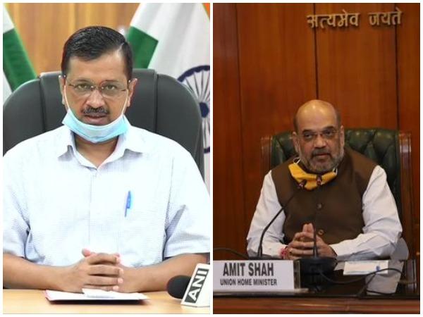 Delhi CM Arvind Kejriwal (left) Union Home Minister Amit Shah (right)