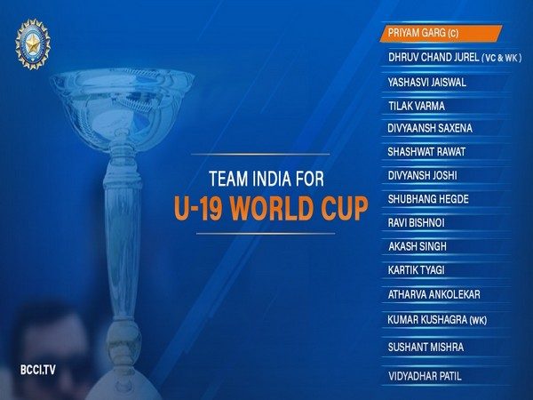 Team for U19 World Cup  Image: BCCI's Twitter