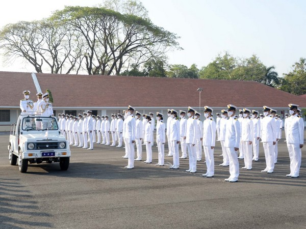 Flag Officer Commanding-in-Chief (FOC-in-C) SNC, Vice Admiral AK Chawla, reviews the parade at the naval base in Kochi