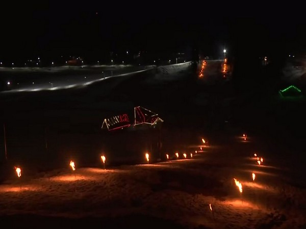 Visual of venue of night skiing event  in Jammu and Kashmir's Gulmarg