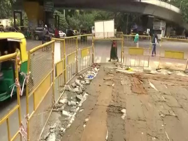 Halted construction at a road in the city. Photo/ANI