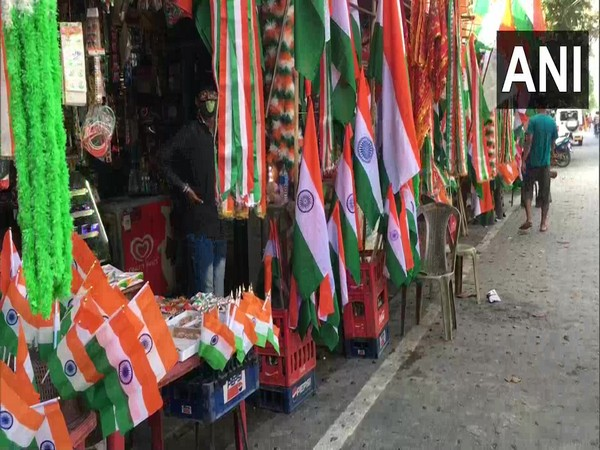 A visual of shops selling flags in West Bengal's Siliguri. (Photo/ANI)