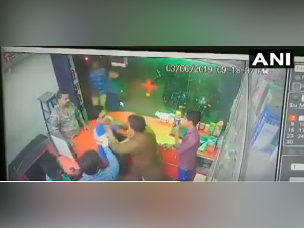 BJP National vice president Renu Devi's brother Pinu assaults a chemist at a medical shop in Bettiah allegedly for not standing up to show him respect.