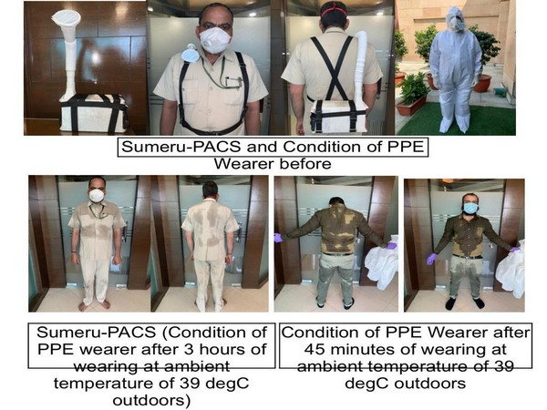 The DRDO product named SUMERU-PACS draws the outside air with the help of a filter and the moist air goes out from the front face opening thereby, cooling neck and head area.