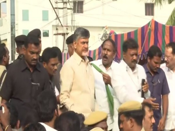 TDP chief N Chandrababu Naidu visited the Thulluru village in Andhra Pradesh. Photo/ANI