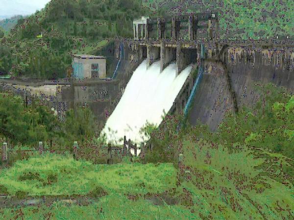 Visuals of the Bhadra Dam in Karnataka's Shivamogga on Tuesday. Photo/ANI