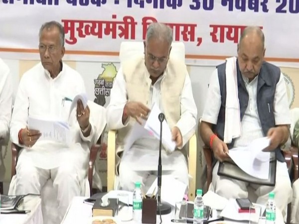 Chhattisgarh Chief Minister Bhupesh Baghel during the meeting with ministers and senior officials in Bhopal on Saturday. Photo/ANI