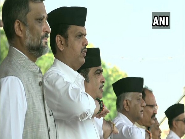 Maharashtra Chief Minister Devendra Fadanvis, Union Minister Nitin Gadkari and former Army chief VK Singh at RSS event in Nagpur on Tuesday. Photo/ANI