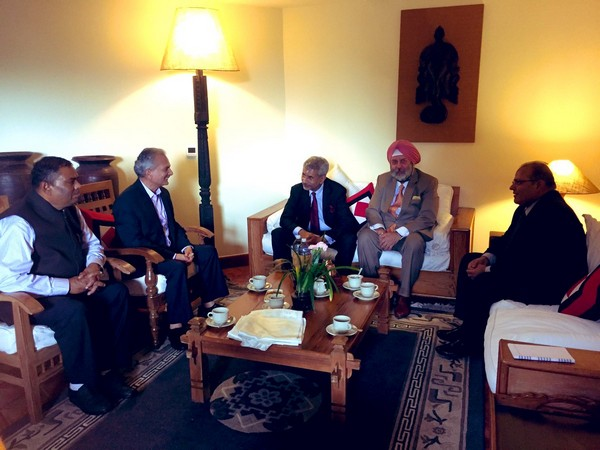 External Affairs Minister S Jaishankar meeting Nepal's former Prime Minister, Baburam Bhattarai in Kathmandu on Thursday (Photo/Bhattarai's Twitter)