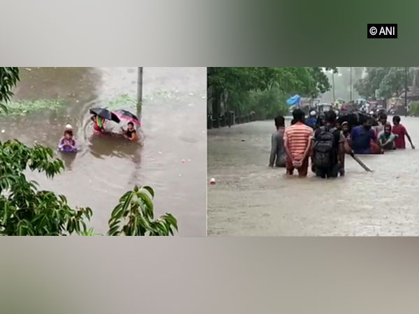People wading through chest-deep water in Ulhasnagar (Left) and waterlogged streets of Bhiwandi (Right)