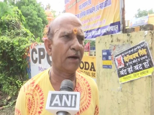 Pandit Mohan Dubey, priest of Parushram Temple talking to ANI on Thursday in Bhopal