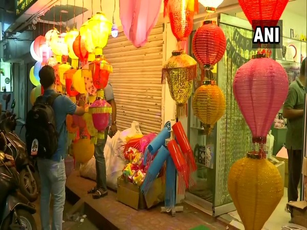 People purchasing decorative lights from Bhubaneswar Diwali Market (Photo ANI)