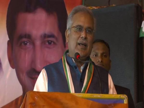 Chhattisgarh Chief Minister Bhupesh Baghel addresses a public rally in Delhi on Wednesday [Photo/ANI]